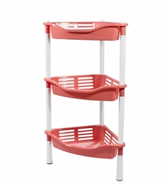 3-section corner stand with baskets Krita , coral